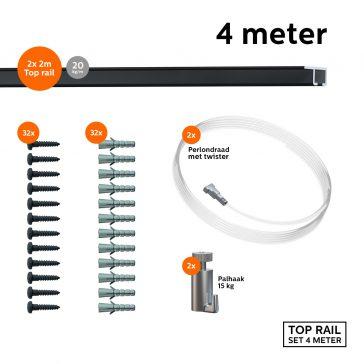 9.6830 TOP RAIL SET ZWART 200CM 15KG 4M