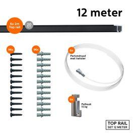 9.6833 TOP RAIL SET ZWART 200CM 15KG 12M